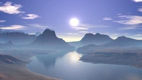 Salida del sol sobre el lago de la montaña libre illustration