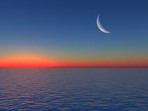 Salida del sol sobre el mar con la luna ilustración del vector