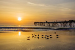 Salida del sol sobre el océano Foto de archivo libre de regalías