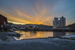 Salida del sol sobre el puerto de Halden Fotografía de archivo libre de regalías