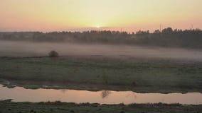 Salida del sol sobre el r?o, niebla ligera del arrastramiento en la tierra metrajes