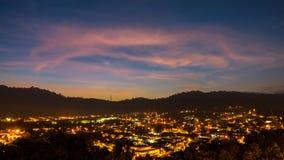 Salida del sol sobre la ciudad de Ampang Foto de archivo libre de regalías