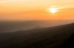 Salida del sol sobre la niebla del bosque negro Imagen de archivo libre de regalías