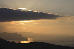 Salida del sol sobre la pista del St Aldhelm Fotografía de archivo