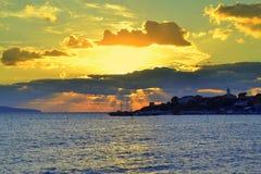 Salida del sol sobre la red de pesca 2 Fotografía de archivo