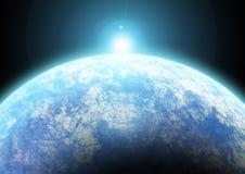 Salida del sol sobre la tierra ilustración del vector