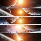 Salida del sol sobre la tierra del planeta en espacio stock de ilustración