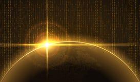 Salida del sol sobre la tierra en ciberespacio Imagen de archivo libre de regalías