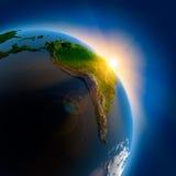 Salida del sol sobre la tierra en externo Imagen de archivo