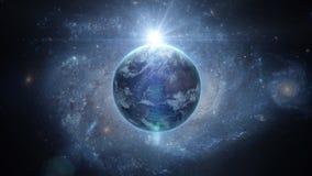 Salida del sol sobre la tierra según lo visto de espacio Con el fondo de las estrellas representación 3d Imágenes de archivo libres de regalías