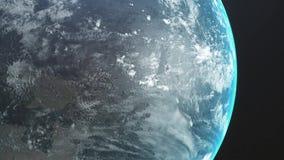 Salida del sol sobre la tierra Vista que sorprende de la tierra del planeta del espacio HD 1920x1080 Animaci?n realista 3D stock de ilustración