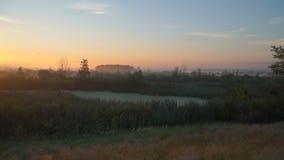 Salida del sol sobre prados el mañana del verano almacen de metraje de vídeo