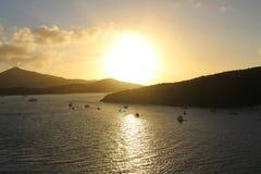 Salida del sol sobre St Thomas Imagenes de archivo