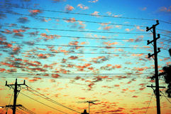 Salida del sol sobre suburbios Imagenes de archivo