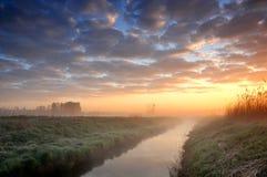 Salida del sol sobre un pequeño río brumoso fotografía de archivo