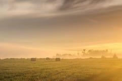 Salida del sol sobre un prado brumoso con los bloques de la paja imagenes de archivo
