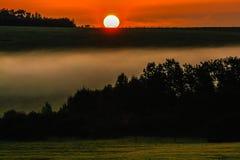 Salida del sol sobre un prado de niebla Fotos de archivo