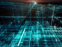 Salida del sol sobre una ciudad de cristal - resuma la imagen digital generada ilustración del vector