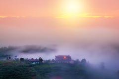 Salida del sol soleada del foco suave en un campo hermoso Niebla apacible Fotografía de archivo libre de regalías