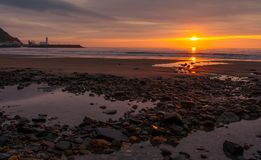 Salida del sol del sur de la primavera de la playa de Scarborough Foto de archivo