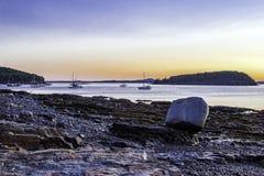 Salida del sol temprana del puerto de la barra Fotografía de archivo