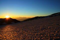 salida del sol y glaciar Fotos de archivo libres de regalías
