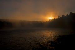 Salida del sol y niebla Fotografía de archivo libre de regalías