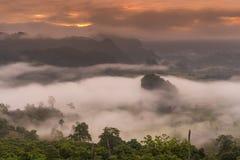 Salida del sol y niebla Fotos de archivo libres de regalías