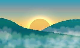 Salida del sol y niebla en las montañas stock de ilustración