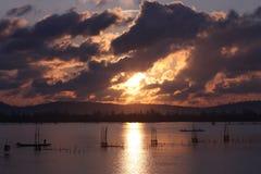 Salida del sol y nubes Imagen de archivo