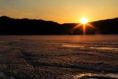 Salida del sol y puesta del sol Foto de archivo