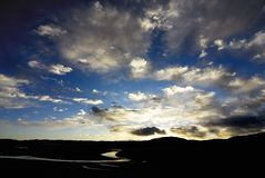 Salida del sol y puesta del sol Fotos de archivo libres de regalías