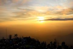 Salida del sol y puesta del sol Fotografía de archivo