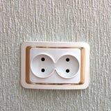 Salida doble Socket en la pared foto de archivo libre de regalías