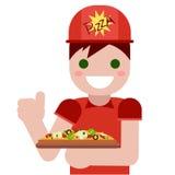 salida Hombre con la pizza Comida rápida caliente deliciosa Foto de archivo libre de regalías