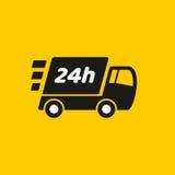 Salida rápida Icono del camión en fondo amarillo Foto de archivo