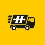 Salida rápida Icono del camión en fondo amarillo Fotos de archivo