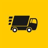 Salida rápida Icono del camión en fondo amarillo Imagen de archivo libre de regalías