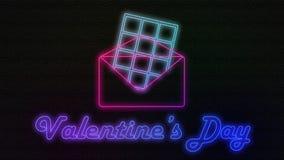 Salida retra de neón del chocolate del caramelo de la animación del sobre valentine stock de ilustración
