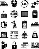 Salida, transporte e iconos del cargo stock de ilustración