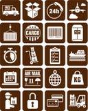 Salida, transporte e iconos del cargo libre illustration