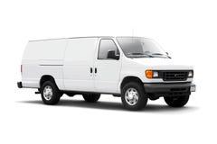 Salida Van blanca en blanco con la sombra de la gota Imagenes de archivo