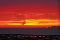 Salidas del sol y puesta del sol Fotografía de archivo