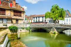 Salies-de-Bearn with an old house and a bridge. Royalty Free Stock Image