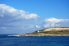 Salina bay coastline, Malta. View of the coastline looking East across Salina Bay, Bugibba, Malta, Europe Royalty Free Stock Photography