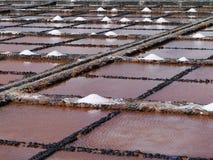 Salina del Carmen salt evaporation ponds. Traditional salt production in Salinas del Carmen on the island Fuerteventura one of the Canary islands belonging to Stock Photo