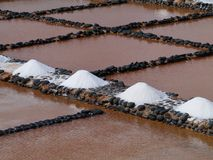 Salina del Carmen salt evaporation ponds Royalty Free Stock Images