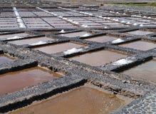 Salina del Carmen salt evaporation ponds. Traditional salt production in Salinas del Carmen on the island Fuerteventura one of the Canary islands belonging to Stock Photography