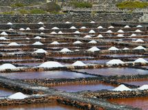 Salina del Carmen salt evaporation ponds Royalty Free Stock Photo