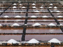 Salina del Carmen salt evaporation ponds Royalty Free Stock Photos